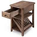 Magnussen Home Baytowne Casual Chairside Table with Magazine Rack