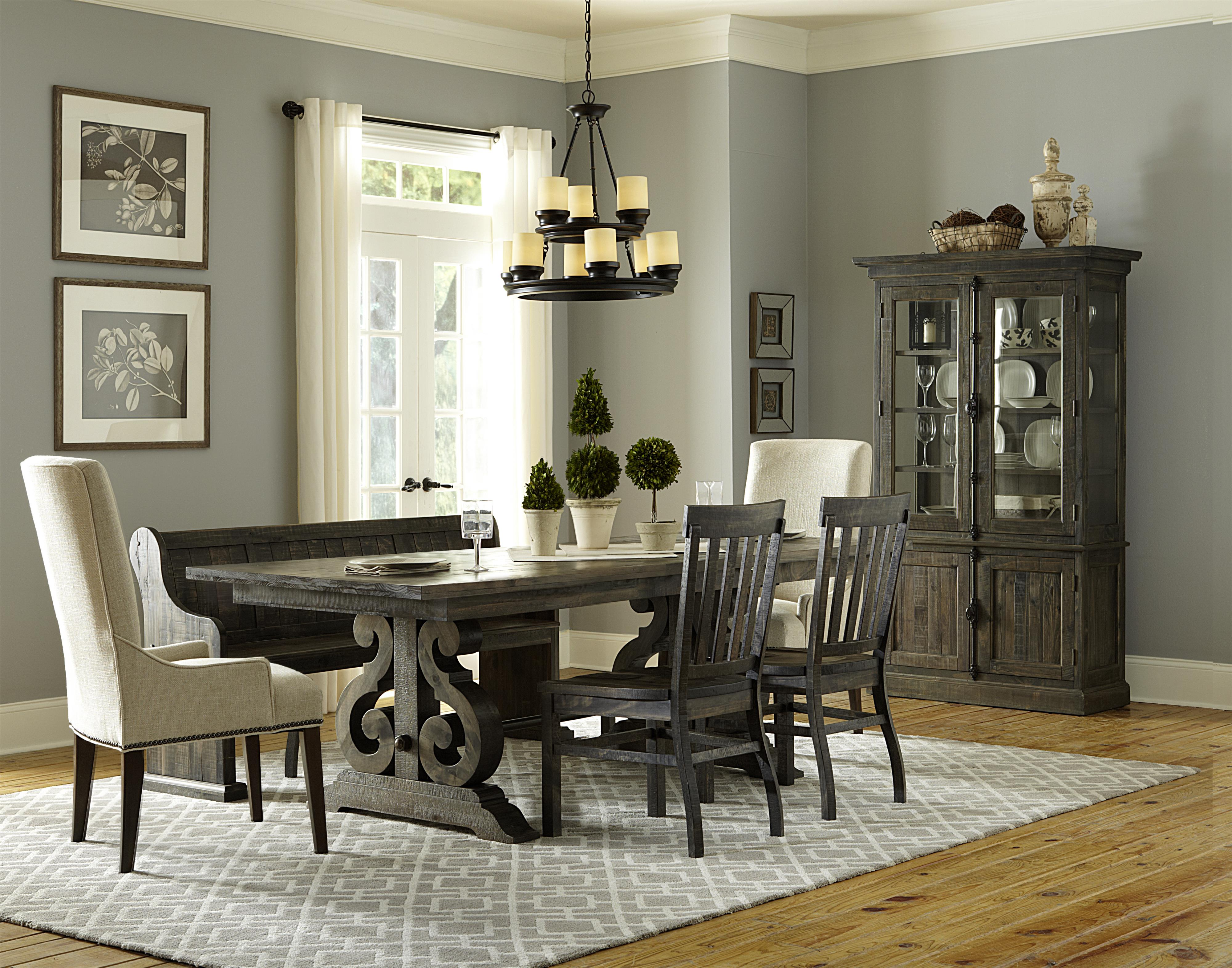 Magnussen Home Bellamy Dining Table, 2 Wood Chairs, 2 Upholstered C - Item Number: MAGN-GRP-D2491-TBL-4BENCH