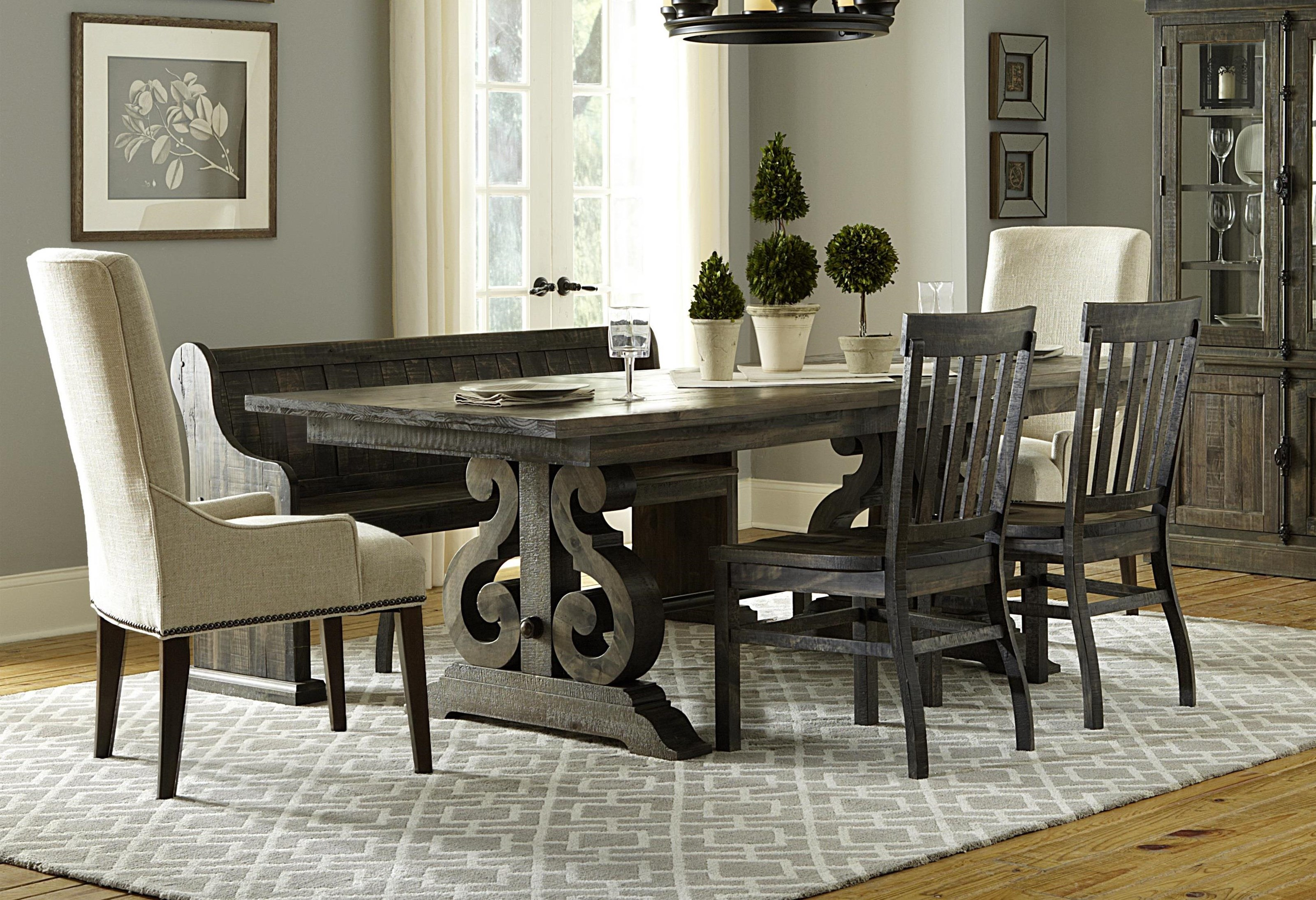 Incroyable Magnussen Home Bellamy Dining Table, 3 Wooden Chairs, 2 Upholstered   Item  Number:
