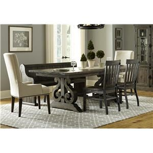 Magnussen Home Bellamy Dining Table, 3 Wooden Chairs, 2 Upholstered