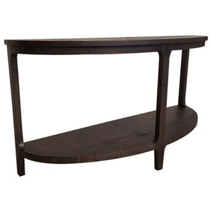 Casual Demilune Sofa Table with Shelf