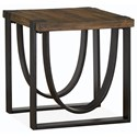 Magnussen Home Bowden  Rustic Rectangular End Table of Solid Wood
