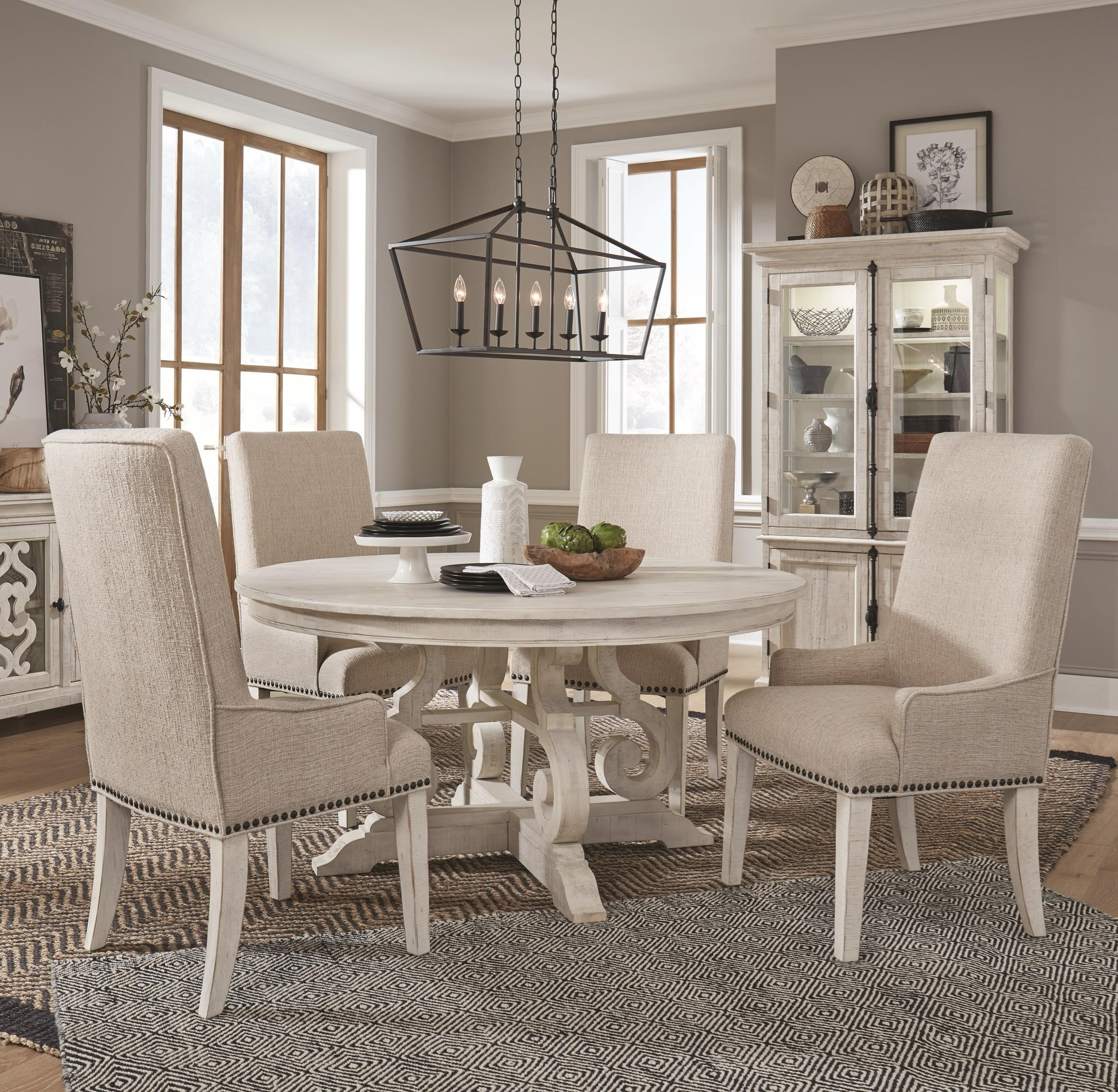 Magnussen Home Bronwyn 5 Piece Farmhouse Dining Table Set With Upholstered Arm Chairs Upper Room Home Furnishings Dining 5 Piece Sets