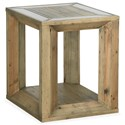 Magnussen Home Brunswick  Rustic Rectangular End Table with Glass Insets
