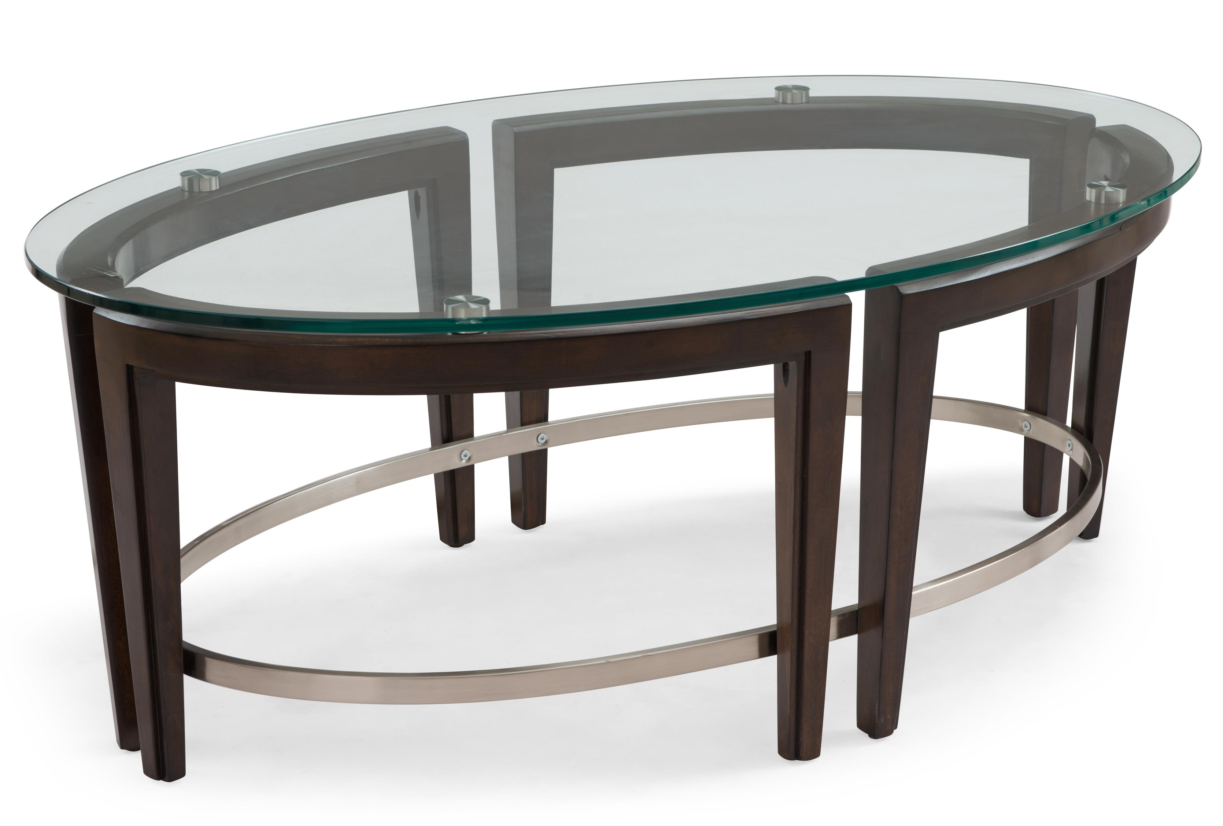 Magnussen Home Carmen Contemporary Wood and Glass Oval Cocktail