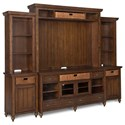 Magnussen Home Cottage Lane Casual Entertainment Wall with Rattan Baskets