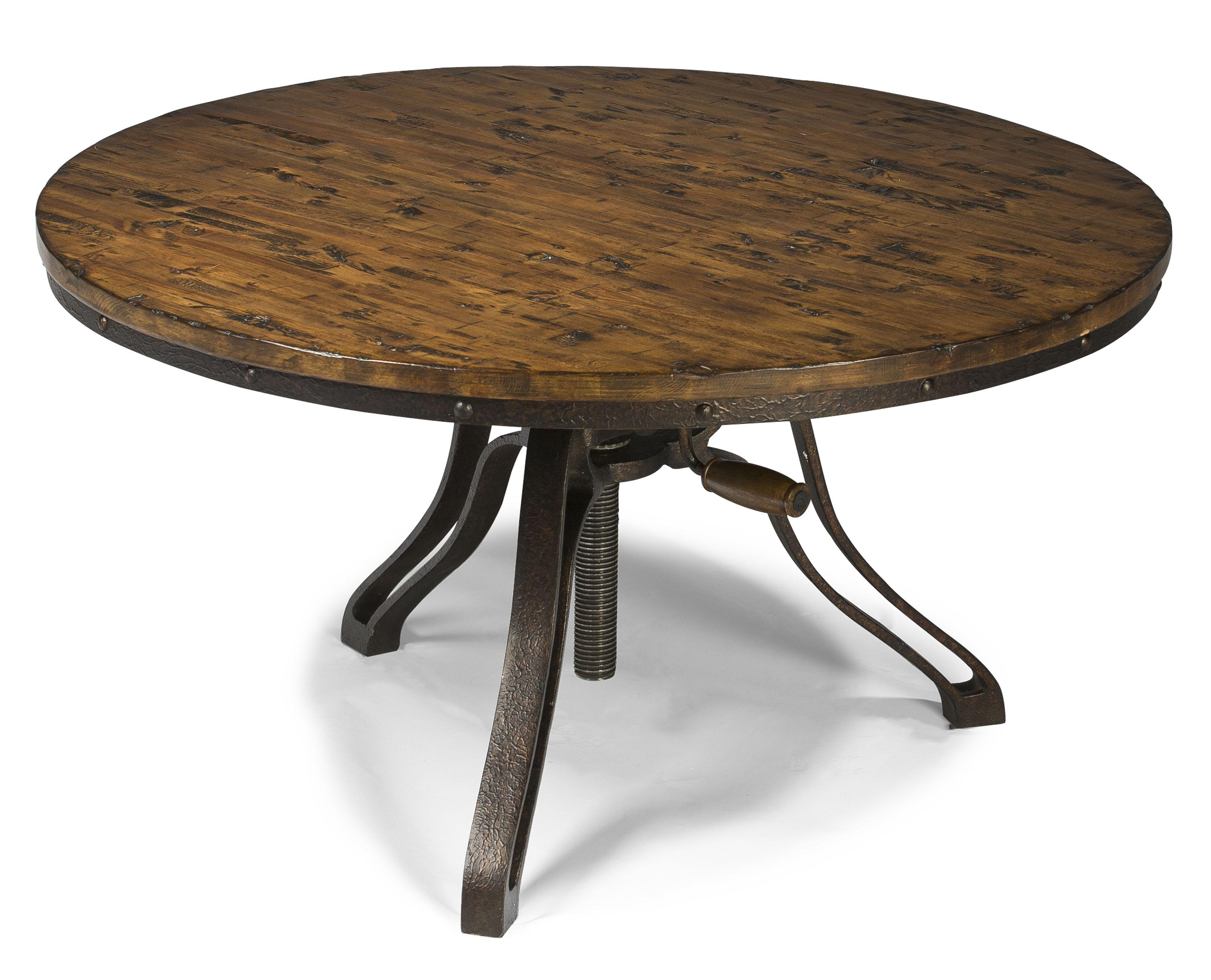 Industrial style round cocktail table with adjustable height Coffee table to dining table
