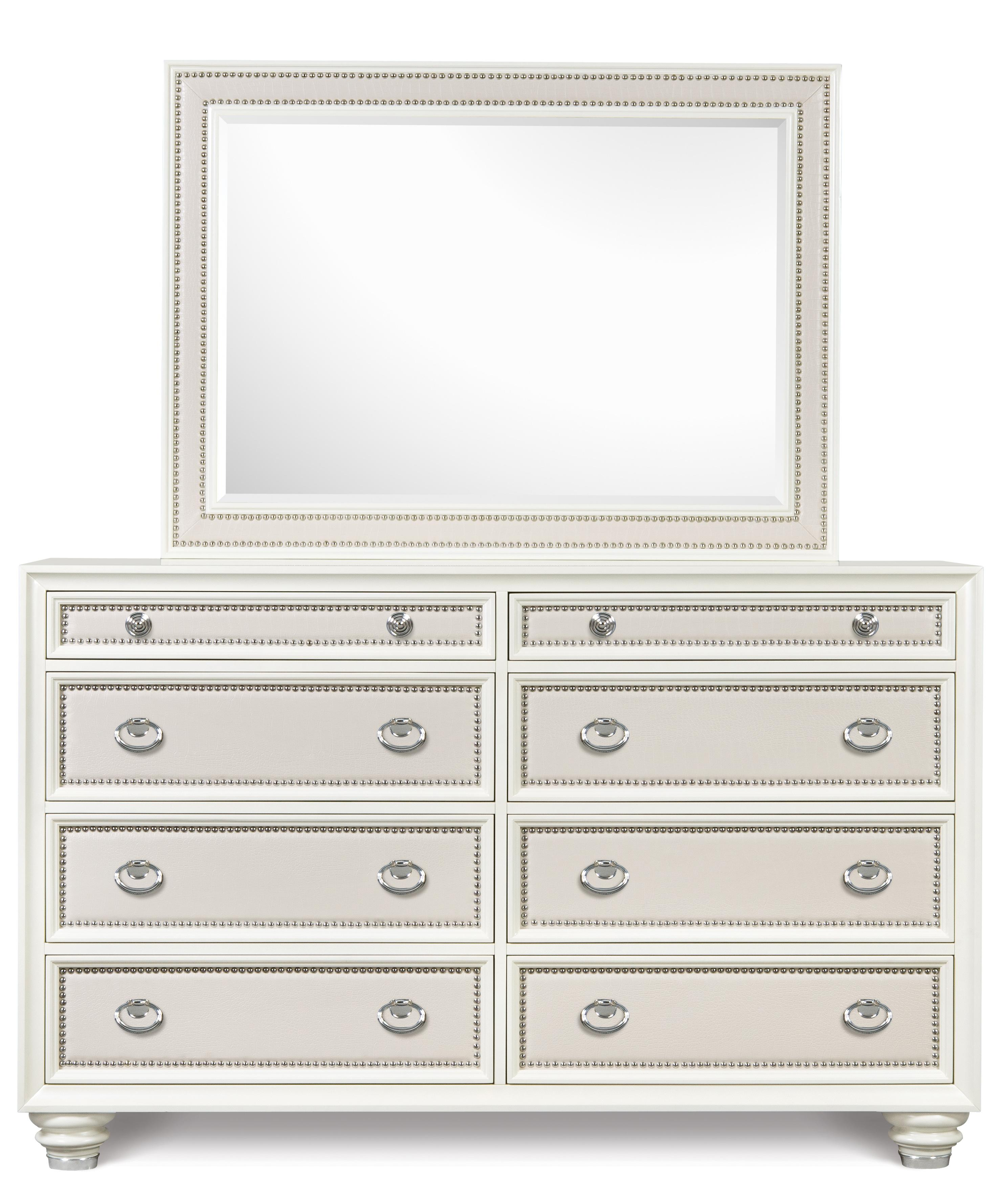 Magnussen Home Diamond Bedroom Drawer Dresser and Landscape Mirror - Item Number: B2344-20+40