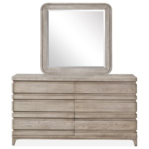 Double Drawer Dresser and Mirror Set