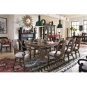 Magnussen Home Jefferson Market Double Pedestal Dining Table with Herringbone Top