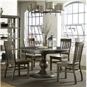 Magnussen Home Karlin 5 Piece Round Stone Top Table and Chair Set - D2471-23+4x60