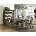 Magnussen Home Karlin Round Single Pedestal Dining Table With Bluestone Top
