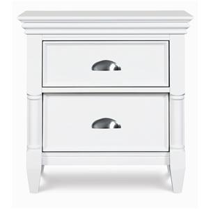 2-Drawer Nightstand with Brushed Nickel Drawer Pulls