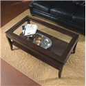 Magnussen Home Lakefield Rectangular Cocktail Table with Etched Glass Top and One Shelf