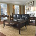 Magnussen Home Lakefield Sofa Desk with Four Drawers and Pullout Keyboard Surface - 1258-90 - Shown in Room Setting with Rectangular Cocktail Table and Rectangular End Table