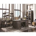 Magnussen Home Sutton Place Rustic Executive Desk with Power Supply