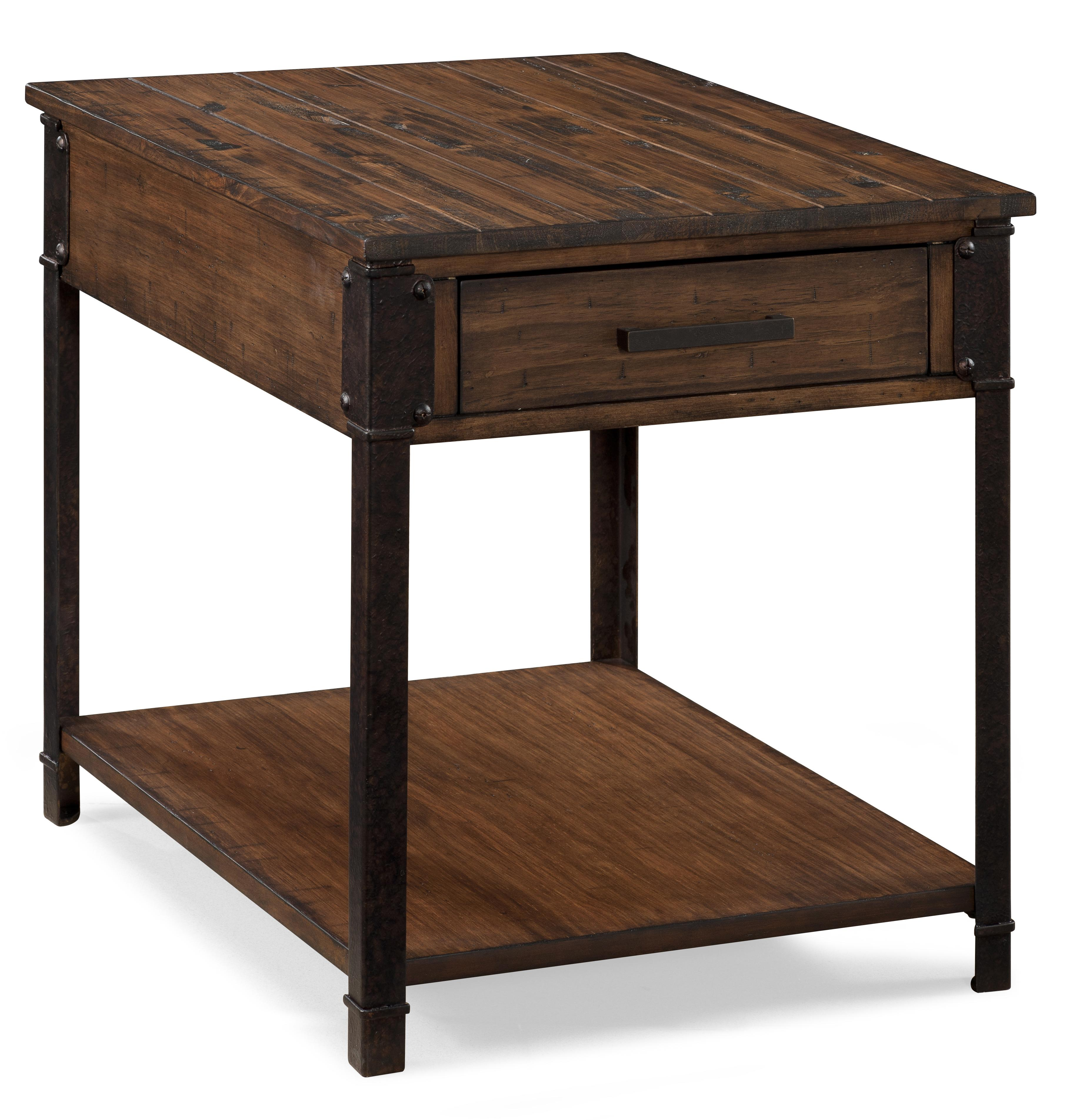 magnussen home larkin industrial rectangular end table with   - magnussen home larkin rectangular end table  item number t