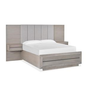Queen Wall Upholstered Bed with Wood/Metal F