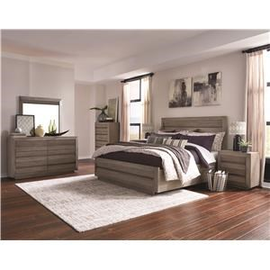Cal King Wood/Metal Panel Bed
