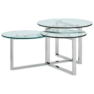 Contemporary Shaped Cocktail Table with 2 Open Shelves and Glass Top