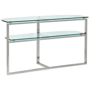 Contemporary Shaped Sofa Table with Open Shelf and Glass Top