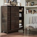 Magnussen Home Modern Geometry Contemporary 5 Drawer Chest with Sliding Door and Adjustable Shelves