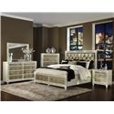 Magnussen Home Monroe Contemporary Old Hollywood Nightstand with Croc Upholstery and Antiqued Mirror