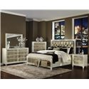 Magnussen Home Monroe California King Old Hollywood Panel Bed with Storage Footboard