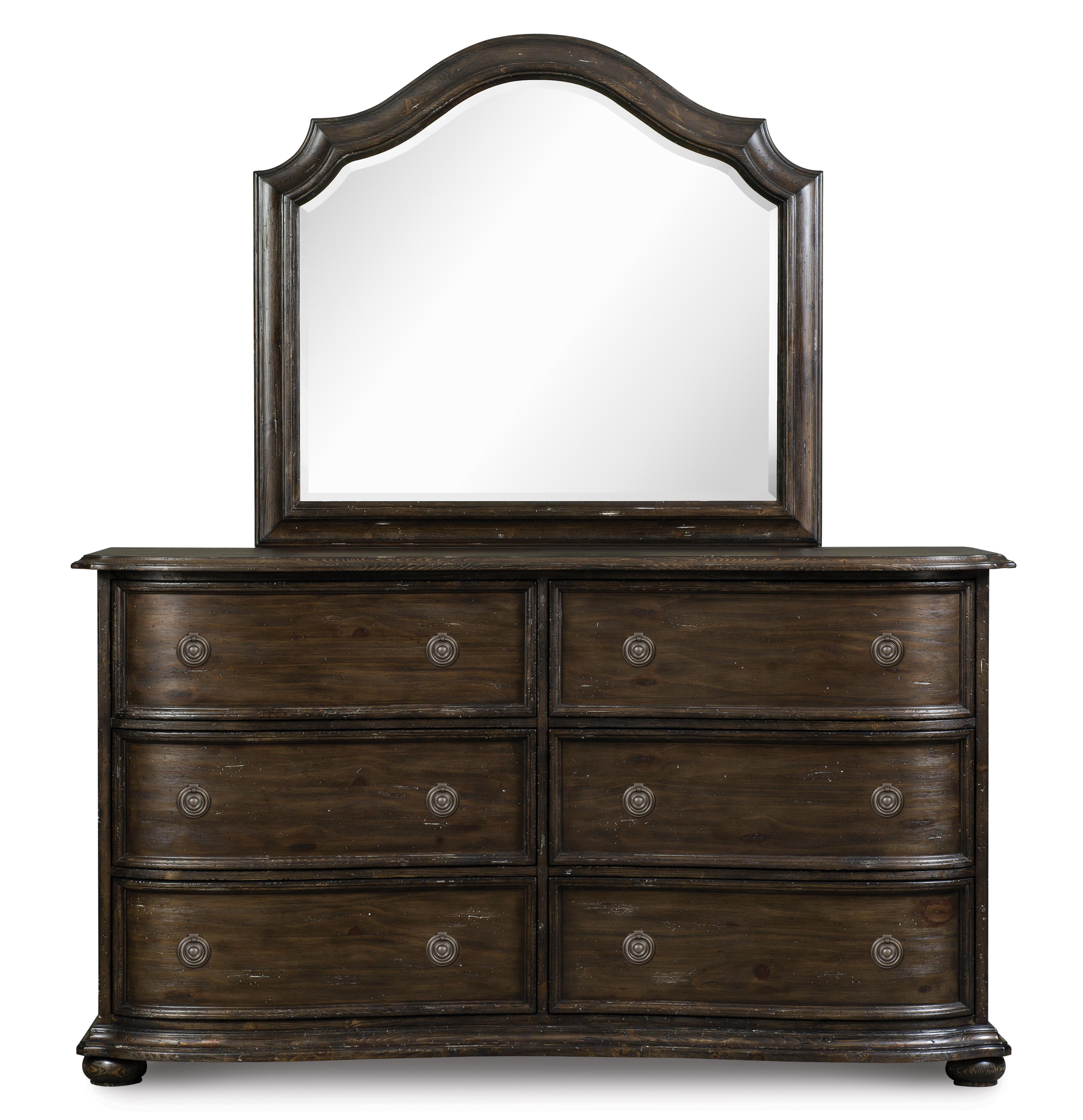 Magnussen Home Muirfield Bedroom Drawer Dresser and Shaped Mirror - Item Number: B2258-20+45