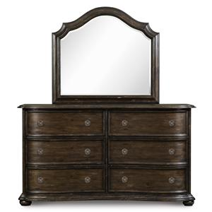 Magnussen Home Muirfield Bedroom Drawer Dresser and Shaped Mirror
