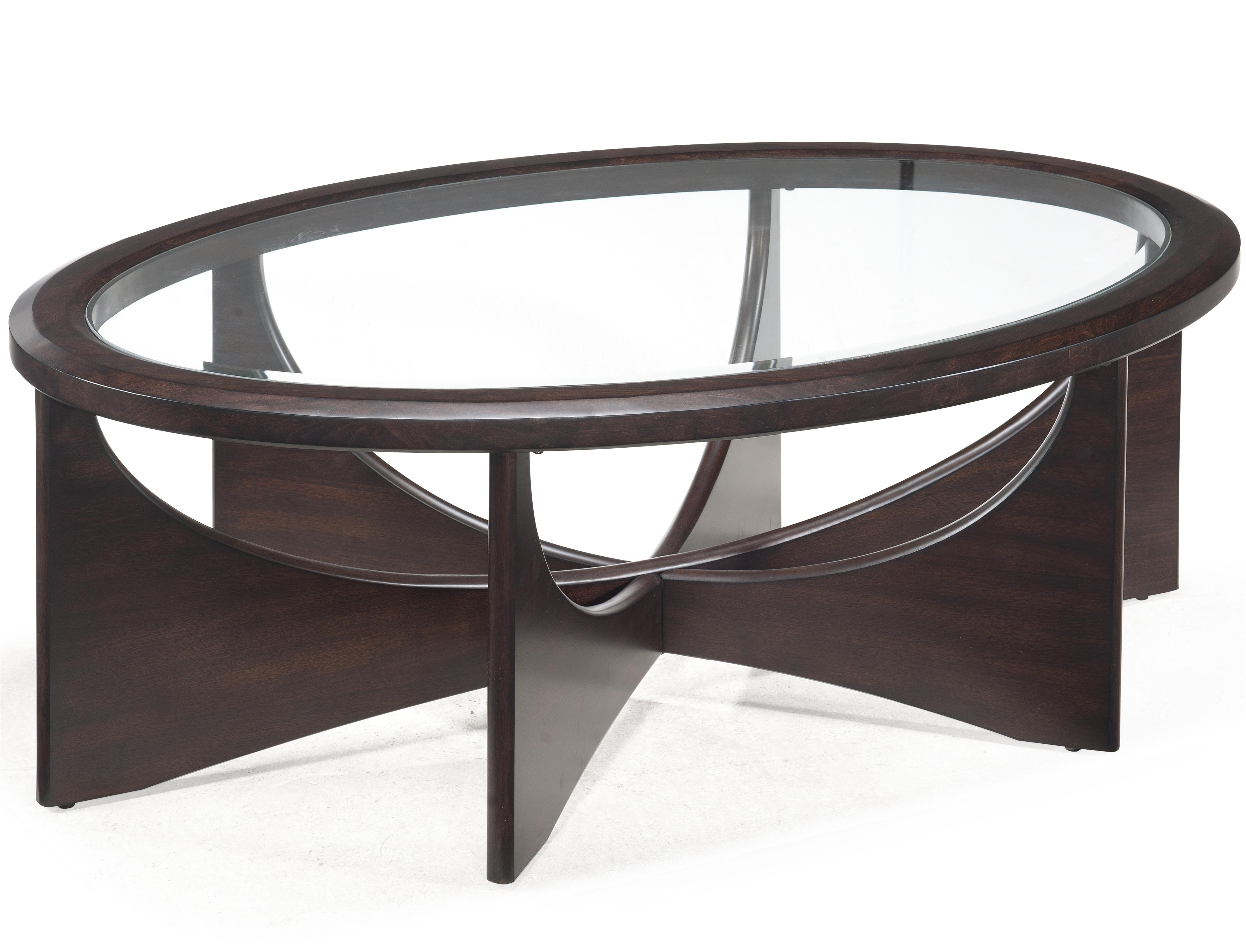 Magnussen Home Okani Glass Top Oval Cocktail Table Olinde 39 S Furniture Cocktail Or Coffee Table