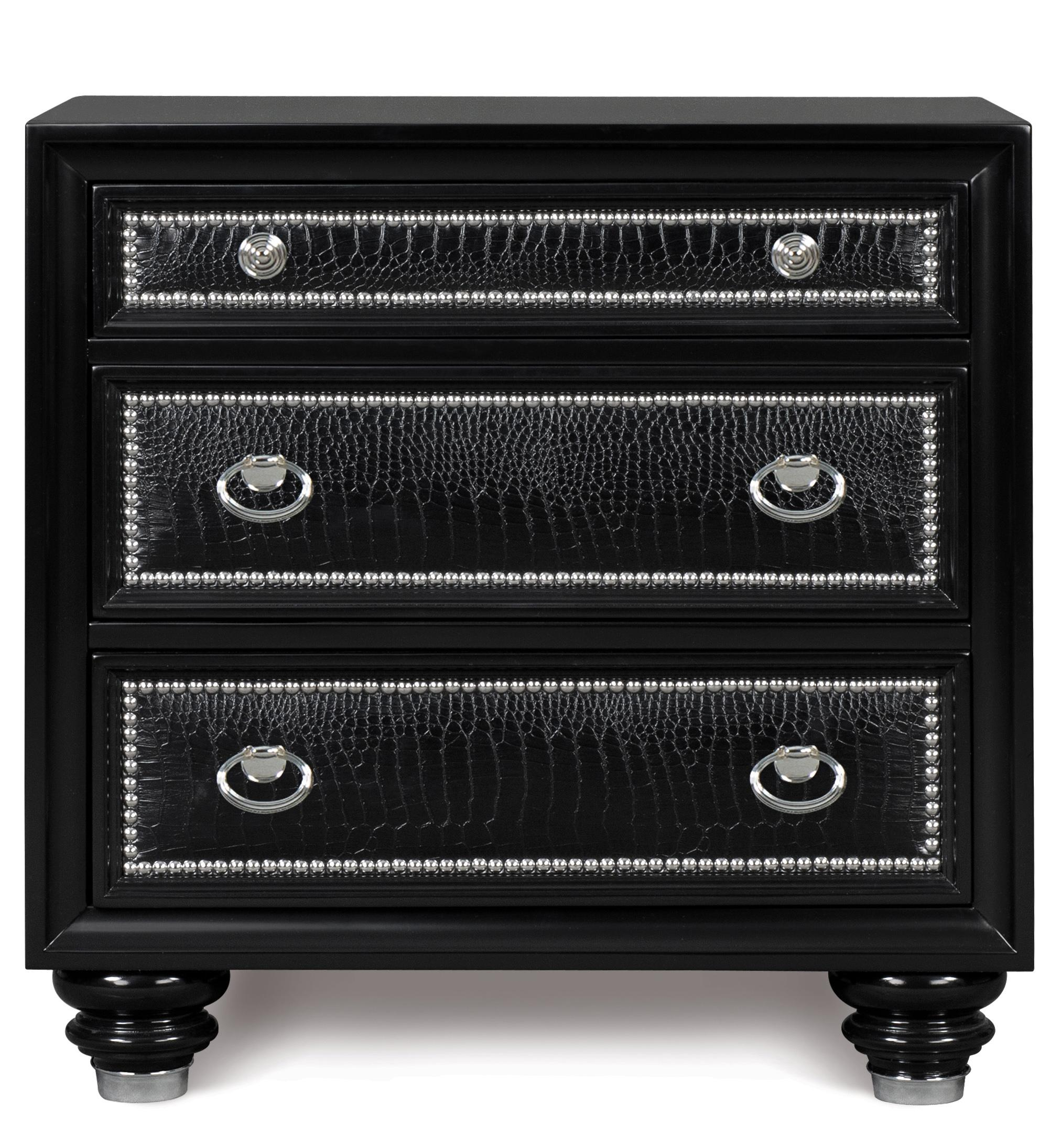 Magnussen Home Onyx Bedroom Three Drawer Nightstand with Embossed ...