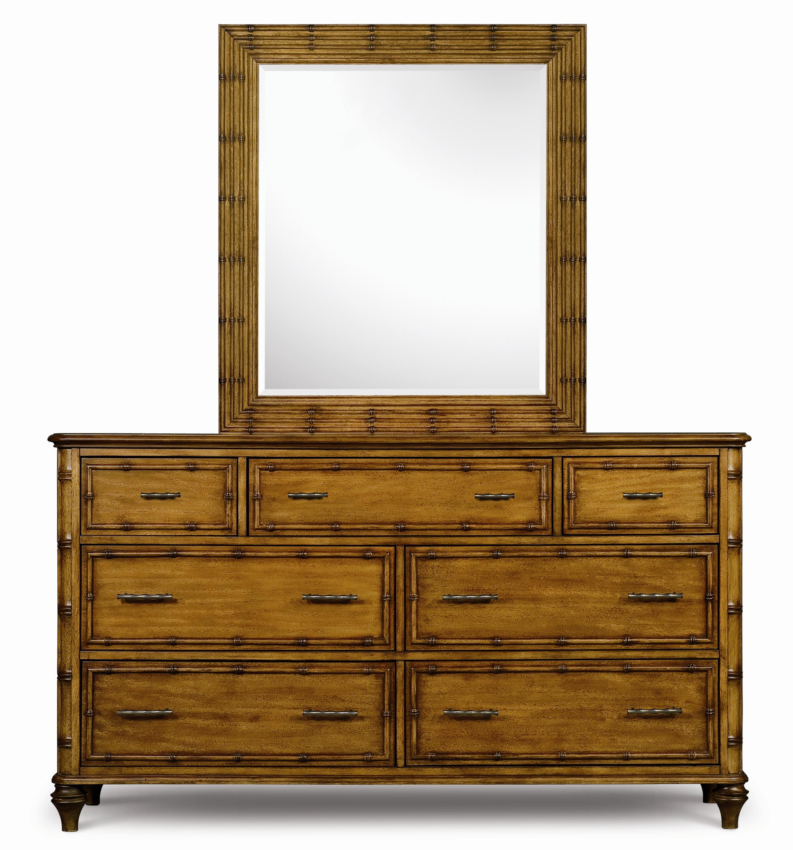 Magnussen Home Palm Bay Drawer Dresser & Landscape Mirror - Item Number: B1469-20+40