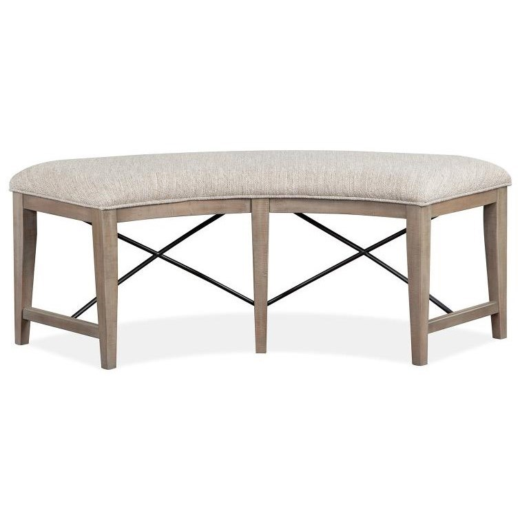 Paxton Place Curved Bench w/ Upholstered Seat by Magnussen Home at Stoney Creek Furniture