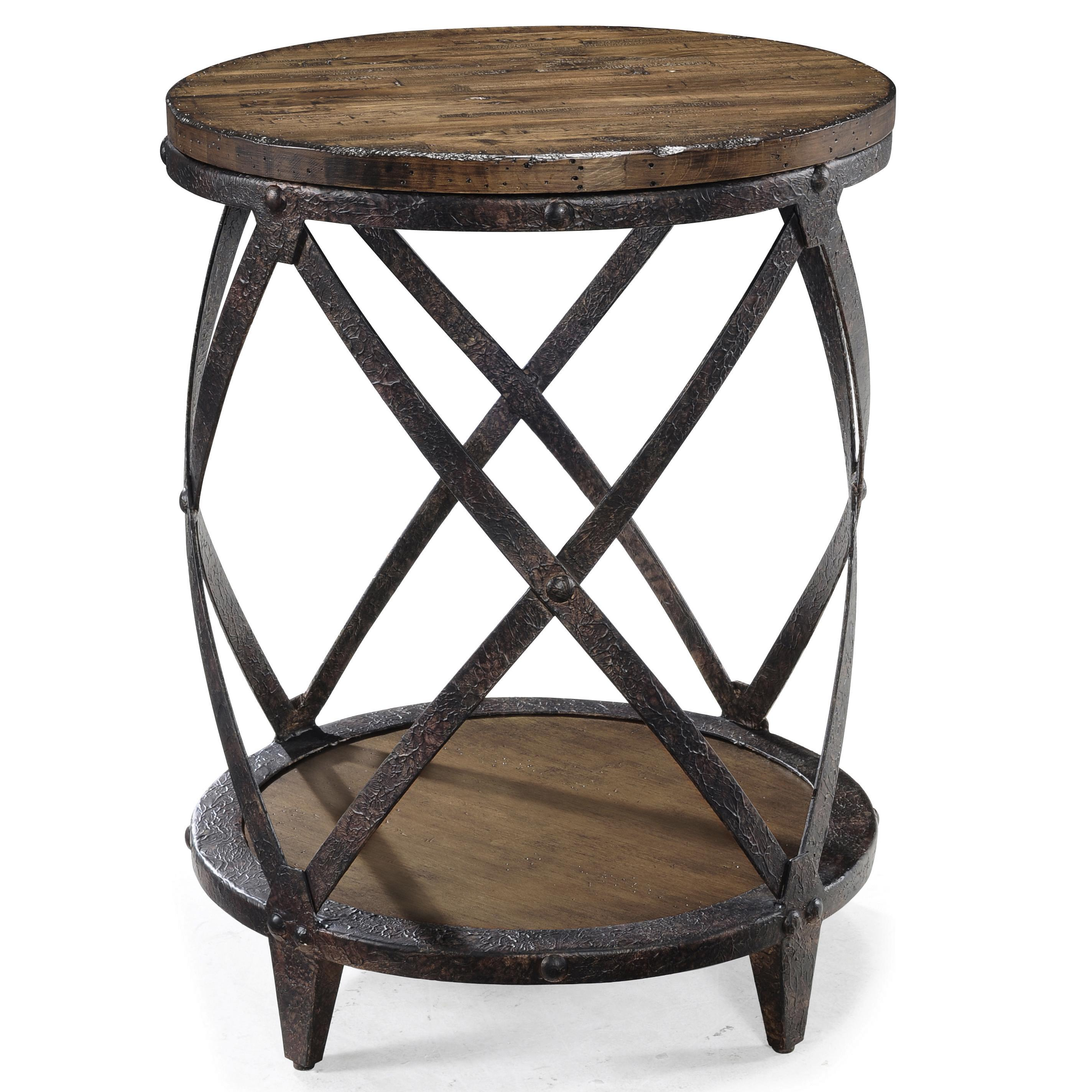 Pinebrook Round Accent End Table With Rustic Iron Legs By
