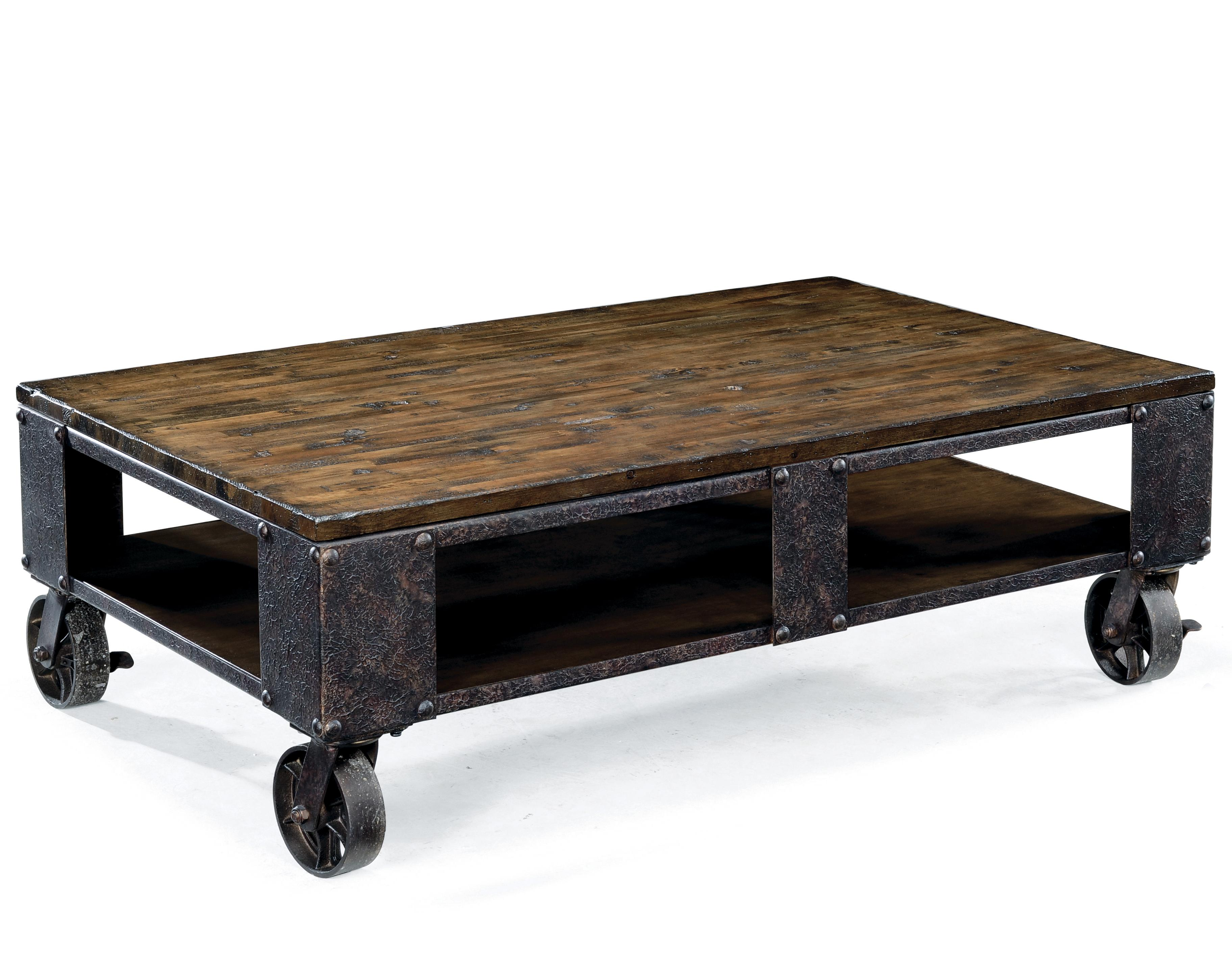 magnussen home pinebrook rectangular cocktail table with wheel
