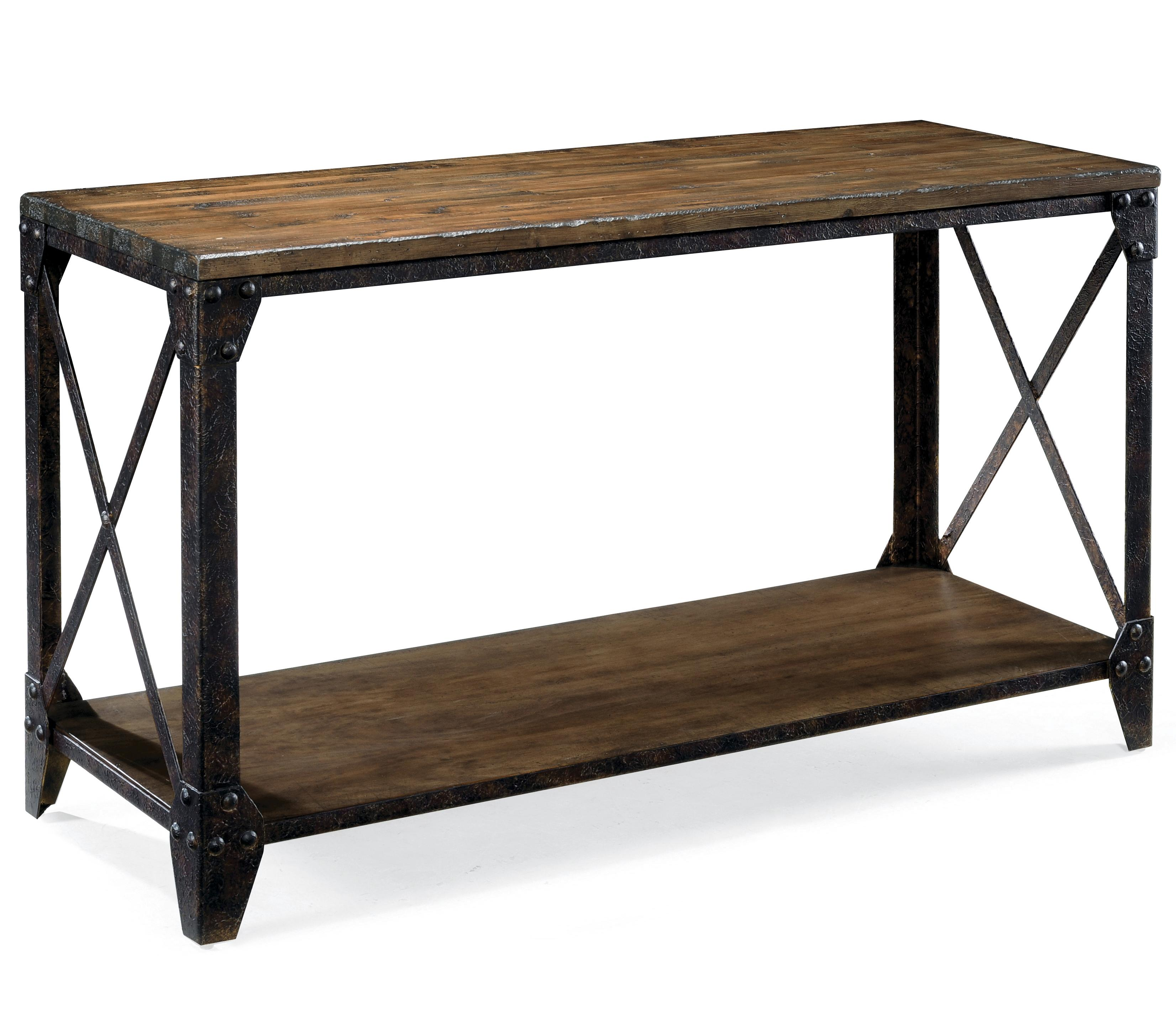 Pinebrook rectangular sofa table with rustic iron legs by Metal console table