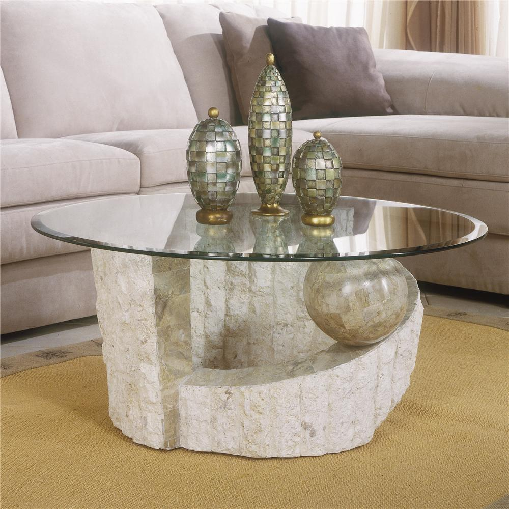 Magnussen Home Ponte Vedra Contemporary Round Glass Coffee Table   AHFA    Cocktail Or Coffee Table Dealer Locator