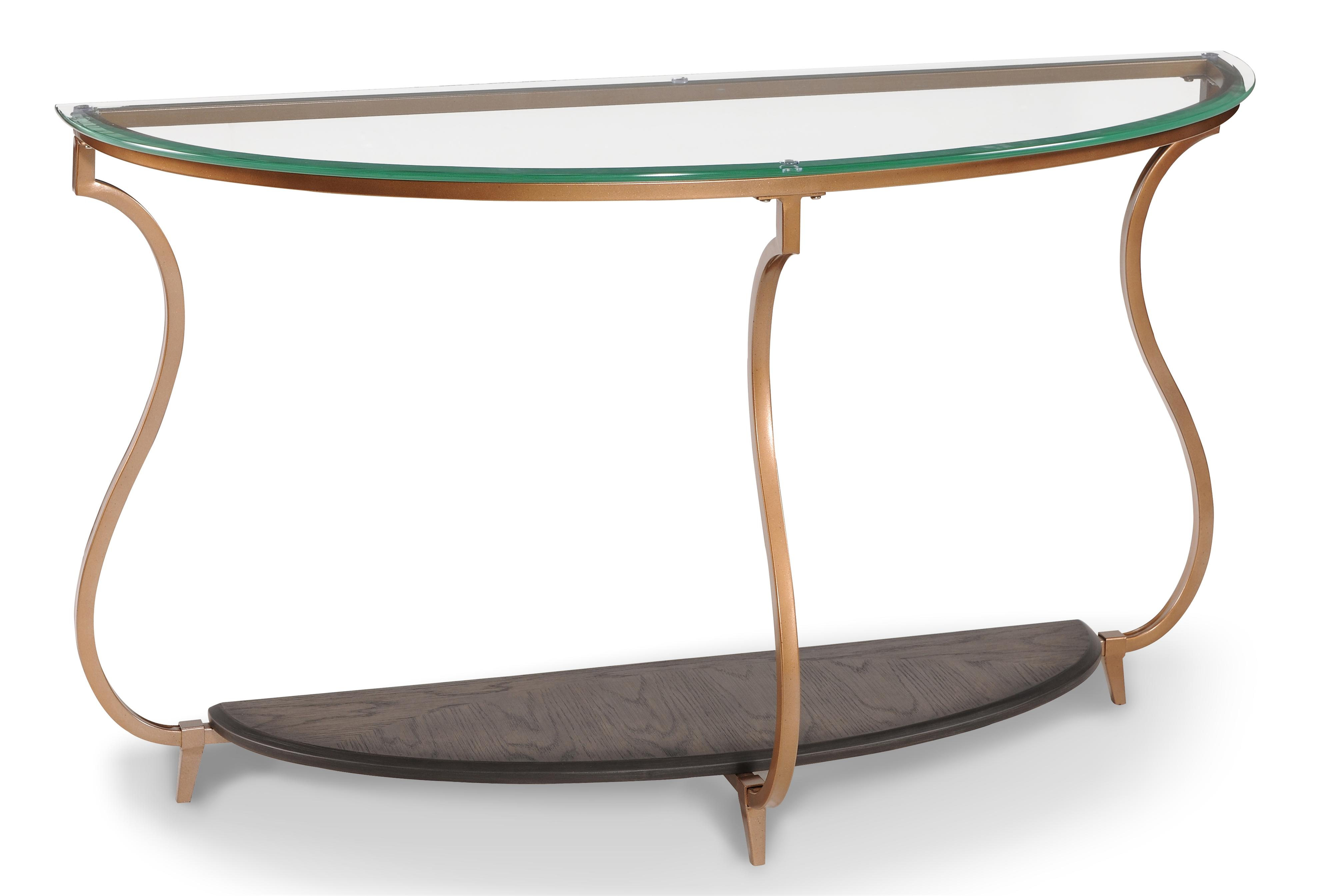 Magnussen Home Rachel Transitional Demilune Sofa Table With Gold Finished Legs And Gl Top Ahfa Dealer Locator