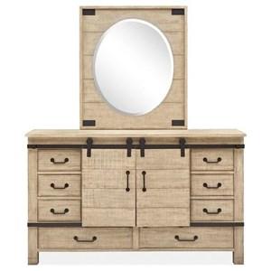 Barn Door Dresser with Oval Portrait Mirror