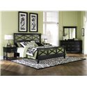Magnussen Home Regan Queen Crossback Headboard - B1958-54H - Shown as Complete Bed with Nightstand, Dresser, and Mirror