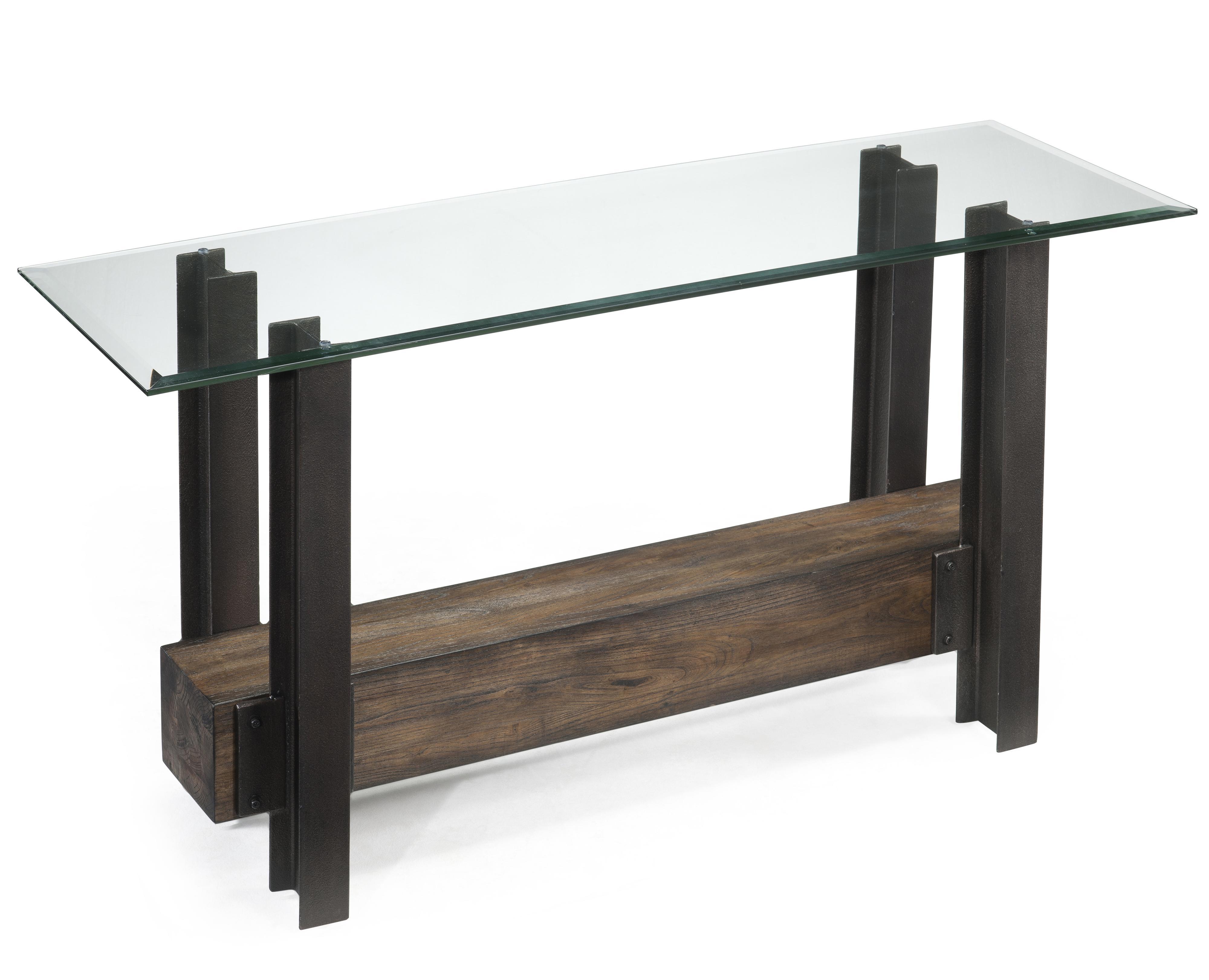 Magnussen Home Rowan Rustic Glass Top Rectangular Sofa Table