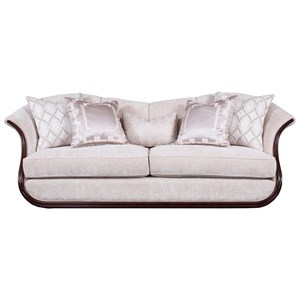 Transitional Free Floating Sofa with Exposed Wood Frame