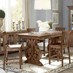 Solid Pine 5-Piece Rectangular Counter Height Table Set