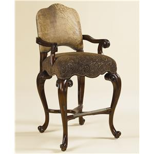 Dark Antique Lido Finished Barstool W/ Ragtime Leather And Paisley  Upholstery. Jacksonville Furniture ...