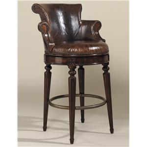 Bar Stools Aged Regency Finished Mahogany Swivel Barstool with Venetian Regal Leather Upholstery by Maitland-Smith