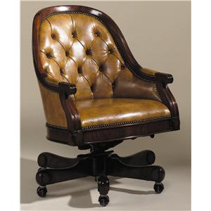 Genial Chairs Light Mahogany Finished Swivel Executive Desk Chair W/ Deep Button  Sienna Leather By Maitland