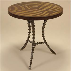Light Tone Zebra Marquetry Motif Side Table