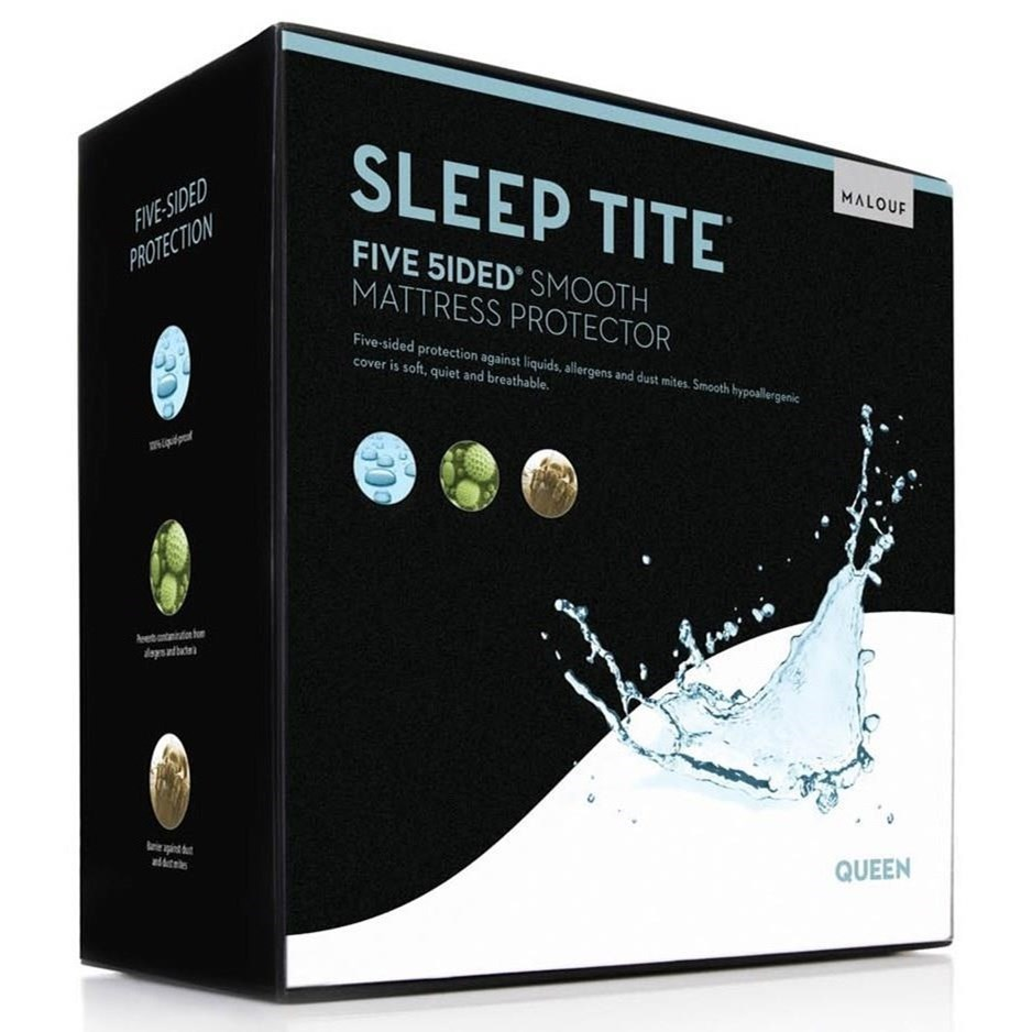 Malouf Five 5ided Smooth Twin Five 5ided Smooth Mattress Protector - Item Number: SL0PTT5P