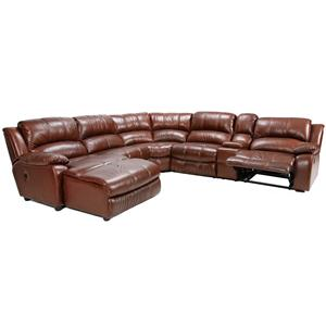 Six Piece Reclining Sectional With Plush Pillow Arms